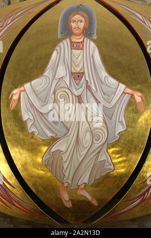 Christ en majesté. Chapelle Sainte-Anne dite chapelle des pénitents XVI - XVIII ème siècle. Megève. Haute-Savoie. France. / Christ in Majesty. Chapel - Stock Photo