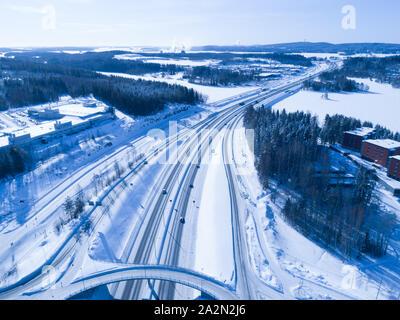 Vuorela Siilinjärvellä Kuopion kupeessa kuvattuna ilmasta talvella - Stock Photo