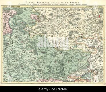 Map, Grand theatre de la guerre sur les frontieres de France & d'Allemagne ..., Guillaume Delisle (1675-1726), Copperplate print - Stock Photo