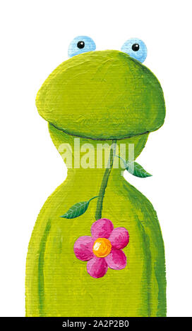 Acrylic illustration of the funny frog with pink flower - Stock Photo
