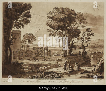 Richard Earlom, English, 1743 - 1822, after Claude Gellée, French, 1600-1682, Rural Concert, ca. 1775, Etching and mezzotint printed in brown on laid paper, plate: 8 1/8 x 10 1/8 in - Stock Photo