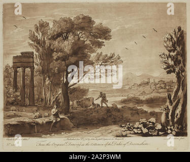 Richard Earlom, English, 1743 - 1822, after Claude Gellée, French, 1600-1682, Mercury and Battus, ca. 1775, Etching and mezzotint printed in brown on laid paper, plate: 8 1/8 x 10 1/8 in - Stock Photo