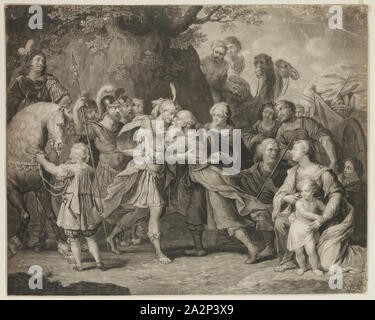 Richard Earlom, English, 1743 - 1822, after Peter Paul Rubens, Flemish, 1577-1640, Meeting of Jacob and Joseph, 18th/19th Century, Mezzotint printed in black on wove paper, image: 19 x 23 3/4 in - Stock Photo