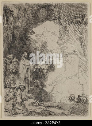 Rembrandt Harmensz van Rijn, Dutch, 1606-1669, Raising of Lazarus, 1642, etching printed in black ink on laid paper, Plate: 5 7/8 × 4 1/4 inches (14.9 × 10.8 cm - Stock Photo