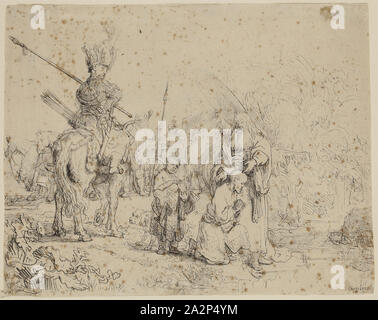 Rembrandt Harmensz van Rijn, Dutch, 1606-1669, Baptism of the Eunuch, 1641, etching printed in black ink on laid paper, Sheet (trimmed within platemark): 6 1/2 × 8 1/8 inches (16.5 × 20.6 cm - Stock Photo