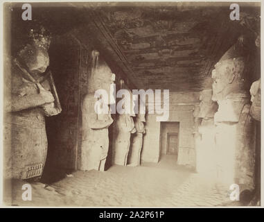 Anonymous Artist, Great Hall of the Interior of the Great Temple of Ramesses II at Abu Simbel, ca. 1869, albumen print, Image: 8 1/8 × 10 1/4 inches (20.6 × 26 cm - Stock Photo