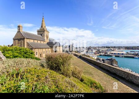 France, Manche, Cotentin, Granville, Upper Town, Notre Dame du Cap Lihou church // France, Manche (50), Cotentin, Granville, la Haute Ville, église No - Stock Photo