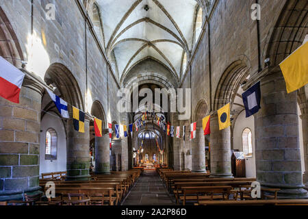 France, Manche, Cotentin, Granville, Upper Town, Notre Dame du Cap Lihou church, the nave // France, Manche (50), Cotentin, Granville, la Haute Ville, - Stock Photo