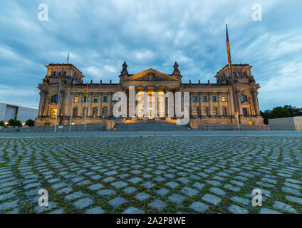 Berlin, Germany -  5 august 2019: front view of Reichstag at sunset - Stock Photo