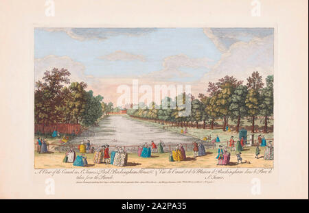 A view of the canal in St. James's Park, Buckingham House, &c. taken from the parade, London, England.  After a print dated 1753 from a work by Caneletto.  Published by Robert Sayer. Later colourization. - Stock Photo