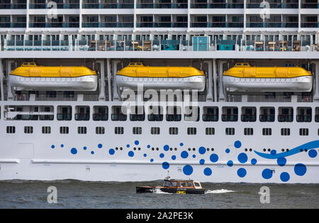 Cruise ship 'Aida Perla' at the Cruise Terminal, in Rotterdam, Netherlands, water taxi, - Stock Photo