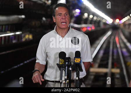 Governor Andrew Cuomo visit to the L Project tunnel rehabilitation, New York, USA - 29 Sep 2019 - Governor Cuomo and senior MTA leadership tour the co