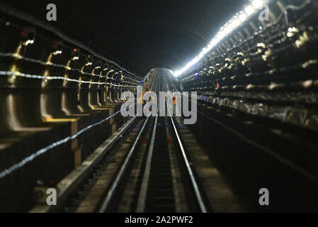 Governor Andrew Cuomo visit to the L Project tunnel rehabilitation, New York, USA - 29 Sep 2019 - New tracks, including new plates and continuous weld