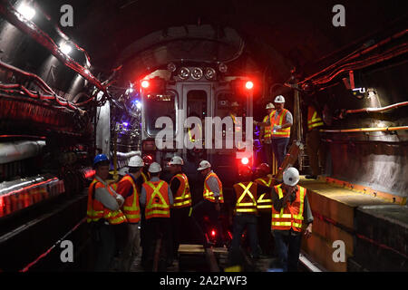 Governor Andrew Cuomo visit to the L Project tunnel rehabilitation, New York, USA - 29 Sep 2019 - MTA workers inside the L train subway tunnel.