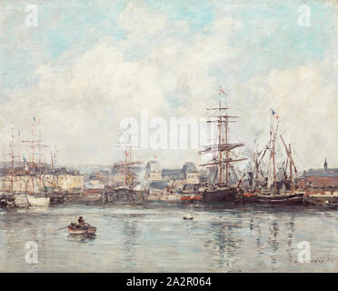 Eugene Louis Boudin, French, 1824-1898, Casimir Delavigne Basin at Le Havre, 1874, oil on wood panel, Unframed: 14 3/4 × 18 1/2 inches (37.5 × 47 cm - Stock Photo