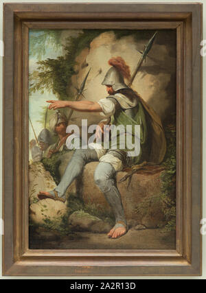 John Hamilton Mortimer, English, 1741-1779, Bandit Taking up His Post, between 1773 and 1779, oil on wood panel, Unframed: 13 1/4 × 9 1/2 inches (33.7 × 24.1 cm - Stock Photo