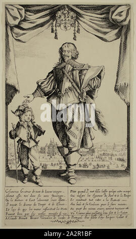 Jacques Callot, French, 1592-1635, Portrait de Deruet, early 17th century, etching and engraving printed in black ink on laid paper, Plate: 11 5/8 × 6 3/4 inches (29.5 × 17.1 cm - Stock Photo