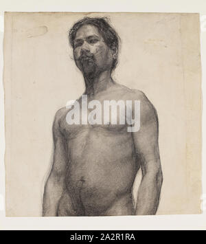Henry Ossawa Tanner, American, 1859-1937, Study of a Negro Man, ca. 1891, charcoal and pastel on cream laid paper, Sheet: 19 1/2 × 9 3/8 inches (49.5 × 23.8 cm - Stock Photo