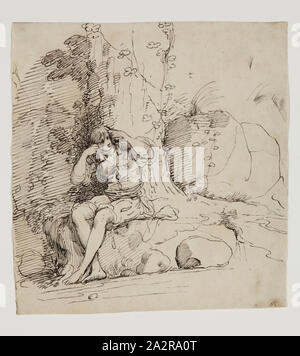 John Hamilton Mortimer, English, 1741-1779, Young Person Seated by a Tree, 1777, pen and black ink on buff antique laid paper, Sheet: 7 3/16 × 6 5/8 inches (18.3 × 16.8 cm - Stock Photo
