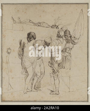 John Hamilton Mortimer, English, 1741-1779, Banditti with Prisoners and Skeleton, ca. 1772, pen and black ink on buff laid paper, Sheet: 7 7/8 × 7 7/8 inches (20 × 20 cm - Stock Photo