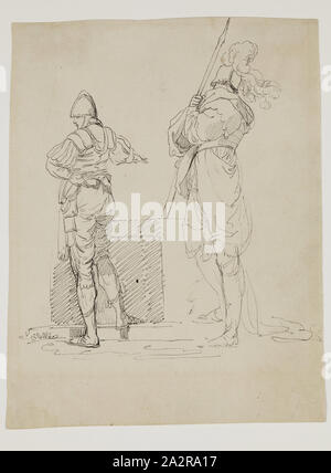circle of John Hamilton Mortimer, English, 1741-1779, Two Soldiers, between 1770 and 1785, pen and black ink over black chalk on dark cream antique laid paper, Sheet: 9 3/16 × 7 3/16 inches (23.3 × 18.3 cm - Stock Photo