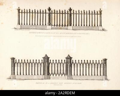 Pattern of Fence, Copper engraving, fences on Mount Auburn Cemetery in Boston, Massachusetts, Signed: Des., & Drawn by T. Voelckers, Fig. 2, Voelckers, T. (inv. et del.), Nehemia Cleaveland, Cornelia W. Walter, James Smillie: The rural cemeteries of America; Greenwood and Mount Auburn cemeteries [...]. New York: Martin & Johnson, 1847 - Stock Photo