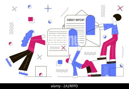 Credit report concept. Tiny people are filling bill. It is approved loan. - Stock Photo