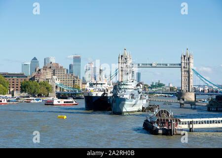 HMS. Belfast cruiser and Tower bridge in 13. September 2019. London ( UK ) - Stock Photo
