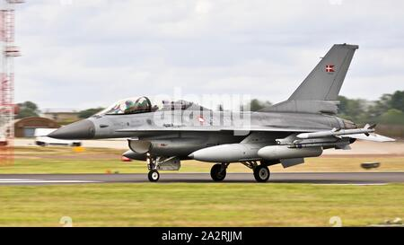 Royal Danish Air Force General Dynamics F-16B Fighting Falcon(ET-197) at the Royal International Air Tattoo 2019 - Stock Photo