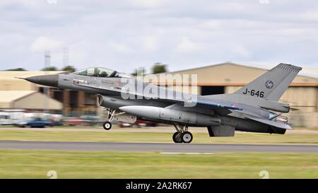 Royal Netherlands Air Force F-16 Fighting Falcon 'J-646' takings off to perform a special flypast at the 2019 Royal International Air Tattoo - Stock Photo