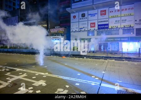 Hong Kong - October 1, 2019: 70th National Day of PRC, protest happened all over Hong Kong. - Stock Photo