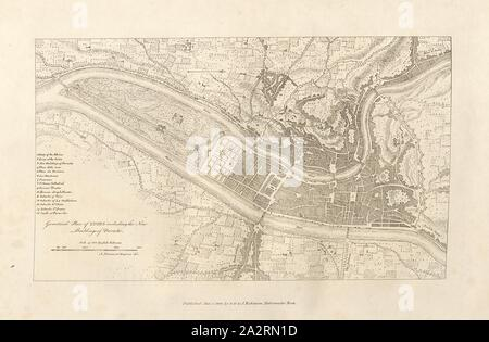 Plan of Lyons, Plan of Lyon with Perrache, Pl. 4, p. 12, 1800, Albanis Beaumont: Travels from France to Italy, through the Lepontine Alps; or, an itinerary of the road from Lyons to Turin, by the way of the Pays-de-Veaud, the Valais, and across the Monts Great St. Bernhard, Simplon, and St. Gotthard. With topographical and historical descriptions (...).London: William Nicholson for G.G. and J. Robinson, and W. Baynes, 1806 - Stock Photo