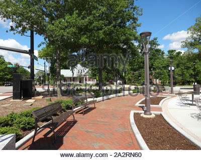 Running Fountain in Park in Downtown Cary, North Carolina - Stock Photo