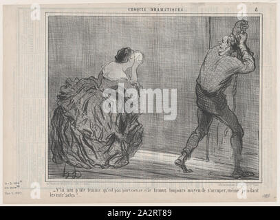 V'la une p'tite femme qu'est pas paresseuse..., from Croquis Dramatiques, published in Le Charivari, January 7, 1857.jpg - 2A2RT89 - Stock Photo