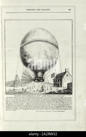 Machine Aerostatic Machine of MM. l'abbé Miolan et Janninet, Hot Air Balloon by Jean-François Janinet (1752-1814) and Miaulan or Miolan (17? -?) In the Jardin de Luxembourg in Paris 1784, Signed: Yves & Barret, Fig. 38, p. 189, Yves & Barret (sc.), 1876, Alfred Sircos; Th. Pallier: Histoire des ballons et des ascensions célèbres avec une préface de Nadar: dessins de A. Tissandier [...]. Paris: F. Roy, 1876 - Stock Photo