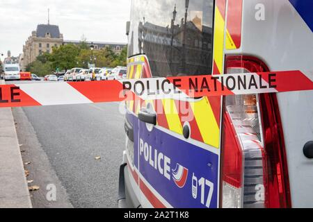 Paris, France. 3rd October 2019. Police Headquarter attacked Credit: EDOUARD MONFRAIS/Alamy Live News - Stock Photo