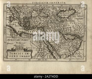Turcici image Empire, Map of the Turkish Empire, signed: P. Kaerius Caelavit, Fig. 128, p. 591, Kaerius, Petrus (caelavit), Gerhard Mercator, Jodocus Hondius, Jansson: Atlas minor Gerardi Mercatoris. Amsterodami: ex officina Ioannis Ianssonii, MDCXXXIIII [1634 - Stock Photo
