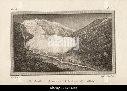 View of the Rhone Glacier and the Source of this River, View of the Rhone glacier, Signed: M. T. Bourit, Angel., Moitte, etching, plate 1, p. 6 (Vol. 2), Bourrit, Marc-Théodore (del.); Moitte, Angélique-Rose (sculp.), 1883, Bourrit, Marc-Théodore, Nouvelle description des Alpes. Genève: chez Paul Barde, 1783 - Stock Photo