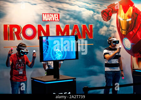 IFEMA, Madrid, Spain. 03th October, 2019. Marvel's Iron Man VR game for PlayStation at the Madrid Games Week / Video game fair, in Madrid. EnriquePSans/Alamy Live News - Stock Photo