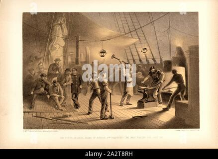 The forge on deck night of August 9th preparing the iron plating for capstan, Forge stove on the deck of the Great Eastern Sailer on August 9, 1865, after the tear of the transatlantic cable, Signed: G. Mc., Culloch lith., from a drawing by R. Dudley; Day & Son, Limited, Lith, Fig. 17, after p. 68, Dudley, Robert (ill.), McCulloch, George (lith.); Day & Co (lith.), 1866, William Howard Russell; Robert Dudley: The atlantic telegraph. Dedicated by special permission to His Royal Highness Albert Edward Prince of Wales. London: Day and son Limited, [1866 - Stock Photo