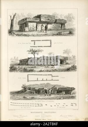 Celtic Monuments, France 4, Dolmen de la Grotte aux Fées near Mettray near Tours, Essé and Locmariaquer, signed: Ernest Breton (del.), Lemaitre (sculp.), Fig. 4, p. 45, Breton, Ernest (del.), Lemaitre, Augustin François (sculp.), 1853, Jules Gailhabaud: Monuments anciens et modernes. Bd. 1. Paris: Librairie de Firmin Didot frères, 1853 - Stock Photo