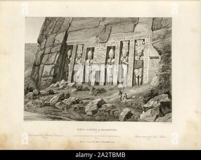 Spéos of Athôr in Ebsamboul 1, Small temple for Hathor in Abu Simbel from the outside, signed: Horeau (del.), Lemaitre (sculp.), Fig. 27, p. 125, Horeau (del.), Lemaitre, Augustin François (sculp.), 1853, Jules Gailhabaud: Monuments anciens et modernes. Bd. 1. Paris: Librairie de Firmin Didot frères, 1853 - Stock Photo