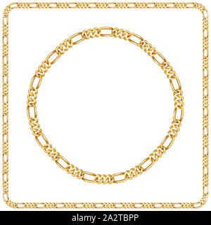 Precious Chains with a White Background. Luxury Square and Circle Golden Chains Vector Illustration. Ready for Textile Print. Set 16. - Stock Photo