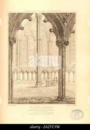 Salisbury Cathedral, view looking into the chapter house, Chapter House of the Salisbury Cathedral, Wiltshire, signed: Drawn by G. Cattermole; Etch'd by J. Le Keux; Published by Longman & Co, Fig. 49, after p. 260, Cattermole, George (drawing); Keux, John Le (etching); Longman & Co. (published), 1820, John Britton: The architectural antiquities of Great Britain: represented and illustrated in a series of views, elevations, plans, sections and details of various ancient English edifices: with historical and descriptive accounts of each. Bd. 5. London: J. Taylor, 1807-1826 - Stock Photo