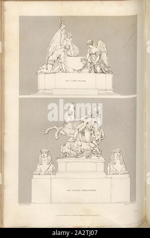 Sir Ralph Abercromby and Sir John Moore, Monuments to Sir Ralph Abercromby and Lieutenant General Sir John Moore, signed: Drawn by H. Corbould; Engraved by C. Heath; Published by Lackington & Co. and Longman & Co., Pl. LV, at p. 204, Corbould, H. (drawing); Heath, C. (engraving); Lackington & Co. (publ.); Longman & Co. (publ.), William Dugdale, Henry Ellis: The history of Saint Paul's Cathedral in London, from its foundation: extracted out of original charters, records, leiger-books, and other manuscripts. London: printed for Lackington, Hughes, Harding, Mavor, and Jones; and Longman, Hurst - Stock Photo