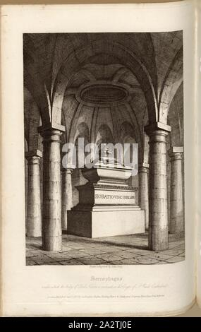 Sarcophagus under which the body of Lord Nelson is enclosed, in the Crypt of St. Paul's Cathedral, Horatio Nelson's Tomb, 1st Viscount Nelson in the Crypt of St. Paul's Cathedral, signed: Drawn & Engraved by John Coney; Published by Lackington, Hughes, Harding, Marvor & Jones; and Longman, Hurst, Rees, Orme & Brown, Pl. LXI, after p. 212, Coney, John (drawing and engraving); Lackington, Hughes, Harding, Marvor & Jones (publ.); Longman, Hurst, Rees, Orne & Brown (publ.), William Dugdale, Henry Ellis: The history of Saint Paul's Cathedral in London, from its foundation: extracted out of original - Stock Photo