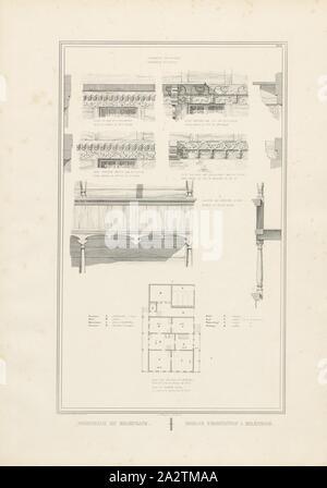 Residential house to Erlenbach 2, Parallel title: Maison d'habitation à Erlenbach, illustration of the wooden ornaments and floor plan of the residential building in Erlenbach from the 19th century, signed: Graffenried & Stürler del. & Publ., J.F. Wagner inct., Berne, plate XXXI, after p. 20, Graffenried, Karl Adolf von (del. et publ.); Stürler, Gabriel Ludwig Rudolf (del. et publ.); Wagner, J. F. (lith.), Karl Adolf von Graffenried, Gabriel Ludwig Rudolf Stürler: Architecture suisse ou choix de maisons rustiques des alpes du Canton de Berne: Schweizerische Architektur oder Auswahl hölzerner
