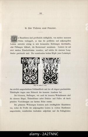 door Clothing, Door clothing cut out of light and dark wood, Fig. 96, p. 101, 1885, Ernst Gladbach: Die Holz-Architectur der Schweiz, 2. Aufl. Zürich & Leipzig: Orell Füssli, 1885 - Stock Photo