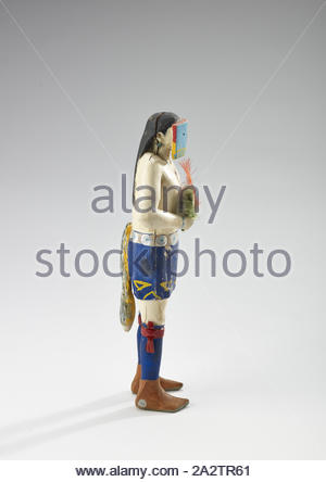 Yeibichai (female mask), Clitso D. Dedman, Carver (American, 1897-1953), 1934-1946, wood, pigment, 9-3/4 x 4 x 2-1/2 in., Inscribed, probably by artist, black pencil, underside, figure's left foot: Clitso Inscribed, probably by artist, black pencil, underside, figure's right foot: Clitso, Native Arts of the Americas - Stock Photo