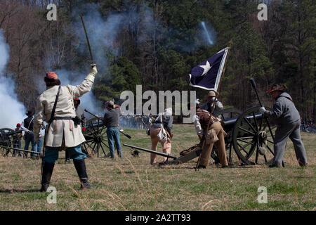 Reenactment of Civil War siege of April 1862, Bridgeport, Alabama - Stock Photo